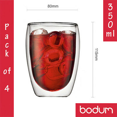4x BODUM PAVINA Double Wall Insulated Thermo Glass Coffee Latte Tea Cups 350ml