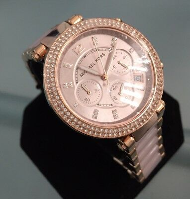 Ladies Michael Kors Parkers Chronograph Genuine Watch MK5896 Rose Gold Pink