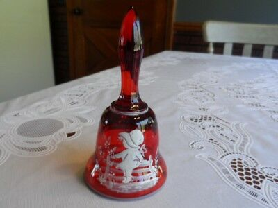 Westmoreland Red Glass Bell Hand Painted Mary Gregory Style