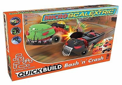 G1116 Micro Scalextric Slot Car QUICK BUILD Bash 'n' Crash Set best lowest price