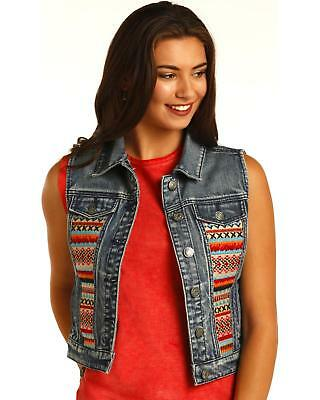 Rock and Roll Cowgirl Aztec Embroidered Denim Vest - 58-2348