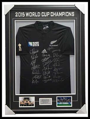 All Blacks Signed Team Jersey 2015 World Cup Champions Framed Carter Mccaw + Coa