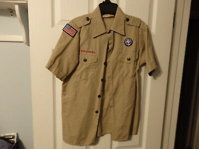 Nice Official Youth LARGE BOY SCOUT SHIRT USED BSA Boy Scouts #32