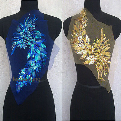 1pc Sequin Motif Flower Lace Applique Trims Dance Wedding Embroidery Sew Craft