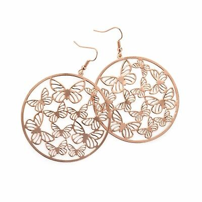 Pair of Large Costume Jewellery Rose Gold Round Butterfly Dangle Earrings