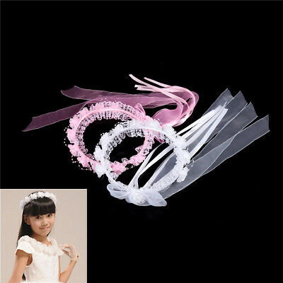 Girl Floral Crown Children Faux Pearls Lace Ribbon Flower Wedding Hairband sp