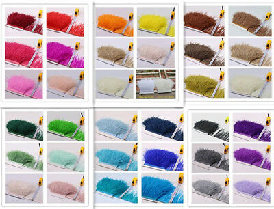 34 Colours Quality Ostrich Feather Fringe Trim For Millinery Hat Craft Dress 1 M