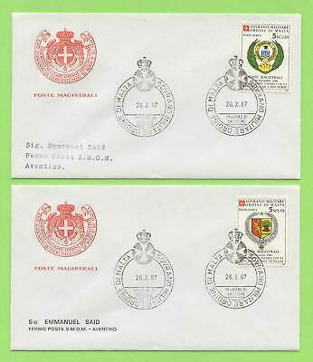 Malta 1987 (Feb.) Sovereign Military Order Arms set on two First Day Covers