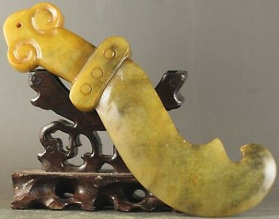 Old Chinese natural jade hand-carved dragon sword statue 6.2 inch