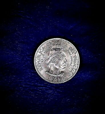 "1961 Uruguay, 10 Pesos .900 silver w/""150th Anniversary of Revolution w/ Spain"""