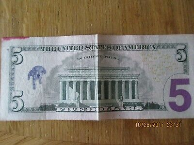 Five Dollar Bill with printed dog