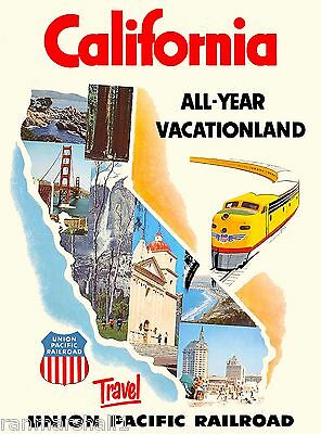 California Vacationland United States America Travel Advertisement Art Poster
