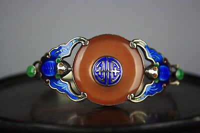 19th/20th C. Chinese Shaolan Silver Inlaid Agate Bracelet