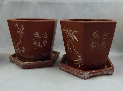 Chinese Antique / Republic Period Hexagonal Yixing Pottery Cache Bonsai Pots x2