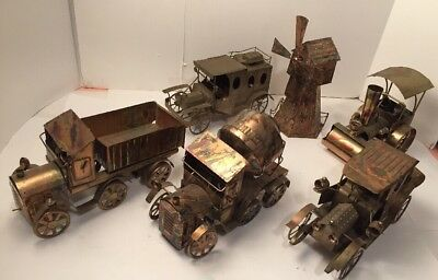 Vintage Lot Of 6 Copper Tin Music Box Car, Trucks, Train, Bus, Wind Mill -SANKYO