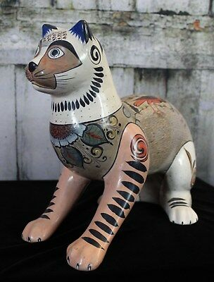 Large Tonala Pottery Cat By Mera Hand Made Mexico Wonderful gift for Cat Lover!