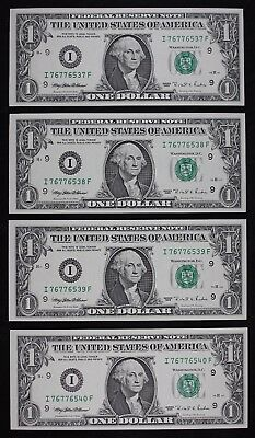 Four $1 1995 CU with bp 295 Engraving Error Federal Reserve Notes I76776537F-40F