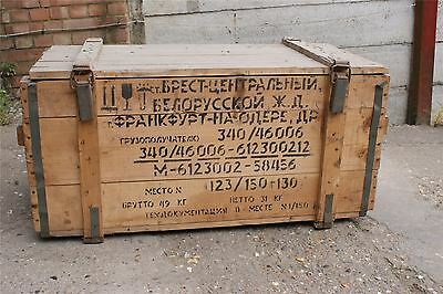 Authentic Used Military Surplus Russian Gas Mask Crate Rustic Display Wooden