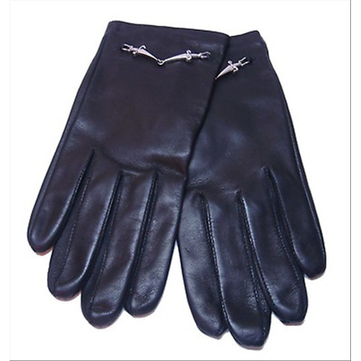 CESARE PACIOTTI woman leather gloves size s with logo silver SL0062