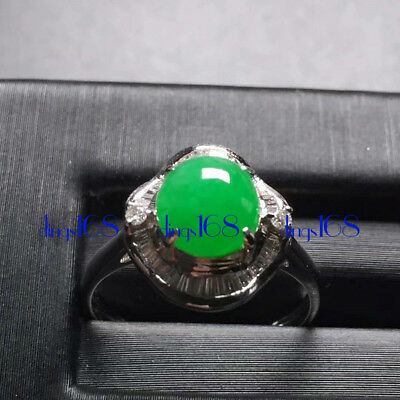 18K Gold 100% Natural A Jadeite Green egg noodles Ring Women Jewelry JD1316