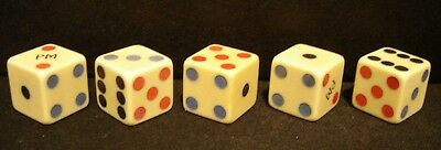 "5 Rare Vintage 11/16"" Dice Made Of French Ivory-From 30s Era-Tri Color Spots"
