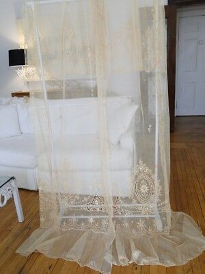 Circa 1900, Pair Of Pretty Cream Embroidered Lace Curtains