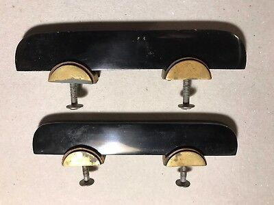 Awesome Pair Of Vintage Art Deco Bakelite Brass Drawer Pulls