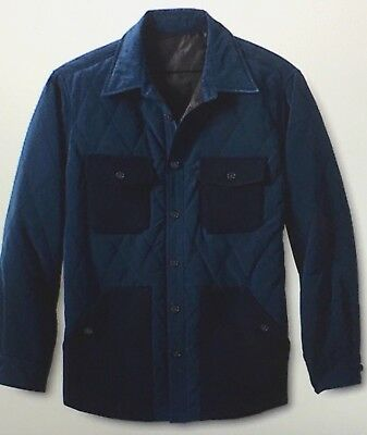 Lands' End Quilted Lined Shirt Jacket Coat Mens Medium M Navy Blue NEW
