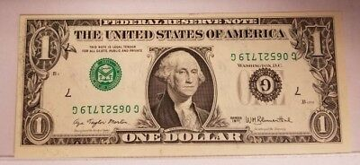 One Dollar Reserve Note Inverted Seals And Serial#s Error Us Bill