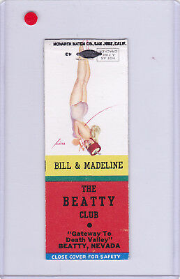 The Beatty Club Matchcover Pin Up Girl Old Style On The Way To Las Vegas Nevada