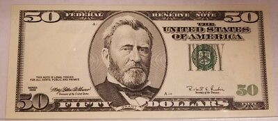 50 Dollar Reserve Note Error Missing Serial #s Seal And Date Us Bill