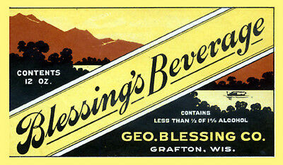 Geo. Blessing Co Beer Label T Shirt Grafton Wi Small-Xxxlarge (F)
