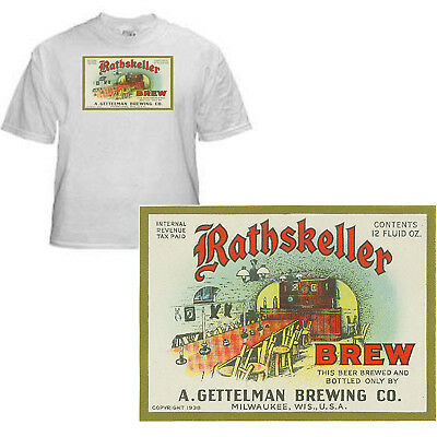 Gettleman Brewing Rathskeller Beer Label T Shirt Sizes Small-Xxxlarge