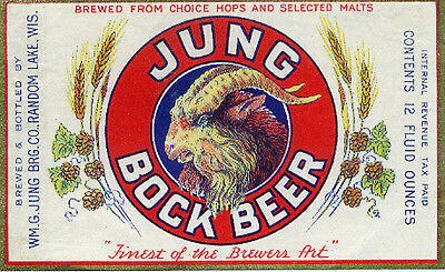 Jung Brewing Bock Beer Label T Shirt Random Lake Wisconsin Small - Xxxlarge
