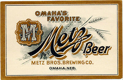 Metz Brothers Omaha's Favorite Beer Label T Shirt Omaha Neb Small - Xxxlarge