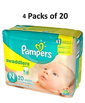 Pampers Swaddlers Size N Newborn (4 Packs of 20 = 80 count) Mini Pack Diapers