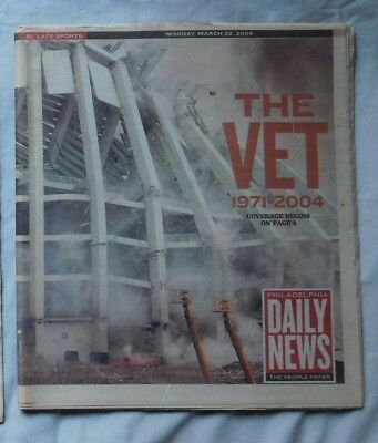 VETERANS STADIUM 1971-2004 Philadelphia Daily News NEWSPAPER Phillies Eagles