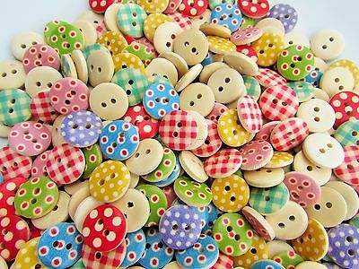 Spot and Check Round Buttons in Assorted Colours and Pack Sizes 15mm