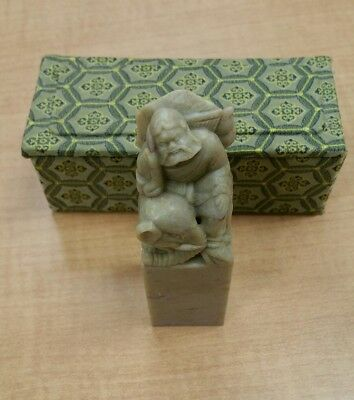 Fine Old Chinese Ts'ao Kuo Chiu Soapstone Carved Statue Figure with box