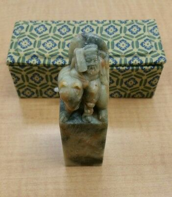 Fine Old Chinese Lan Ts'ai Ho Soapstone Carved Statue Figure with box