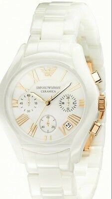 New ladies armani white and rose gold ceramic watch 100% authentic