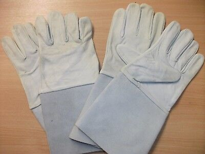 "2 Pairs of Leather Tig Welding Gauntlets Grey Size 10 Welding Gloves, 6"" Cuff"