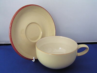 Denby Fire Yellow Large Breakfast Cup And Saucer.