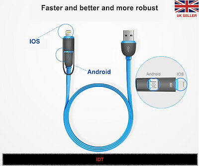Super Fast Charging 2 in 1 Micro USB Data Charger Cable For iPhones, Samsung