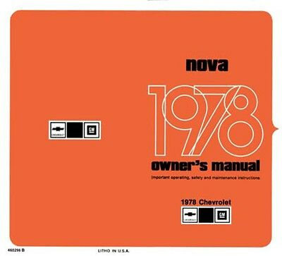 1978 Chevrolet Nova Owners Manual User Guide Reference Operator Book Fuses Fluid