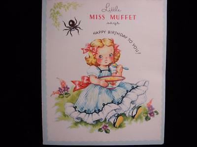 """Vintage """"little Miss Muffet Says - Storybook!!"""" Birthday Greeting Card"""