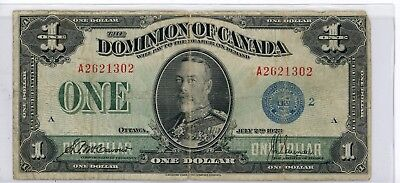 Canada $1 Large Size Dominion Currency Banknote 1923