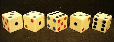 5 Rare Vintage Dice Made Of French Ivory-From 30/40s-Tri Color Inlaid Spots