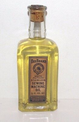 Antique Bee Brand Mccormick Sewing Machine Oil Bottle Full Corked  /label