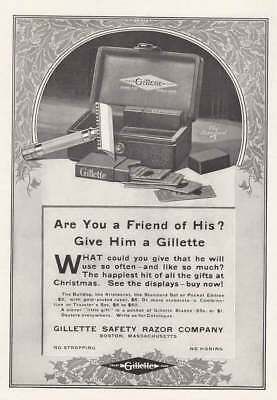 1916 Gillette Safety Razor: Are You a Friend of His Vintage Print Ad